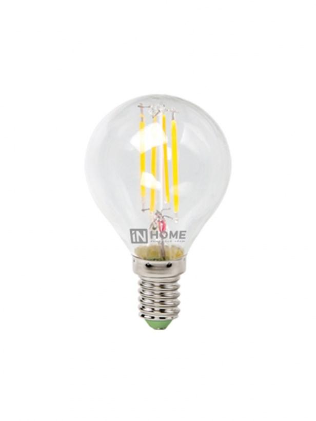 Лампа светодиодная LED-ШАР-deco 5W 230В Е14 3000К 450Lm прозрачная IN HOME