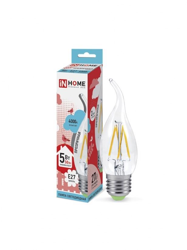Лампа светодиодная LED-СВЕЧА НА ВЕТРУ-deco 5W 230В Е27 4000К 450Lm прозрачная IN HOME