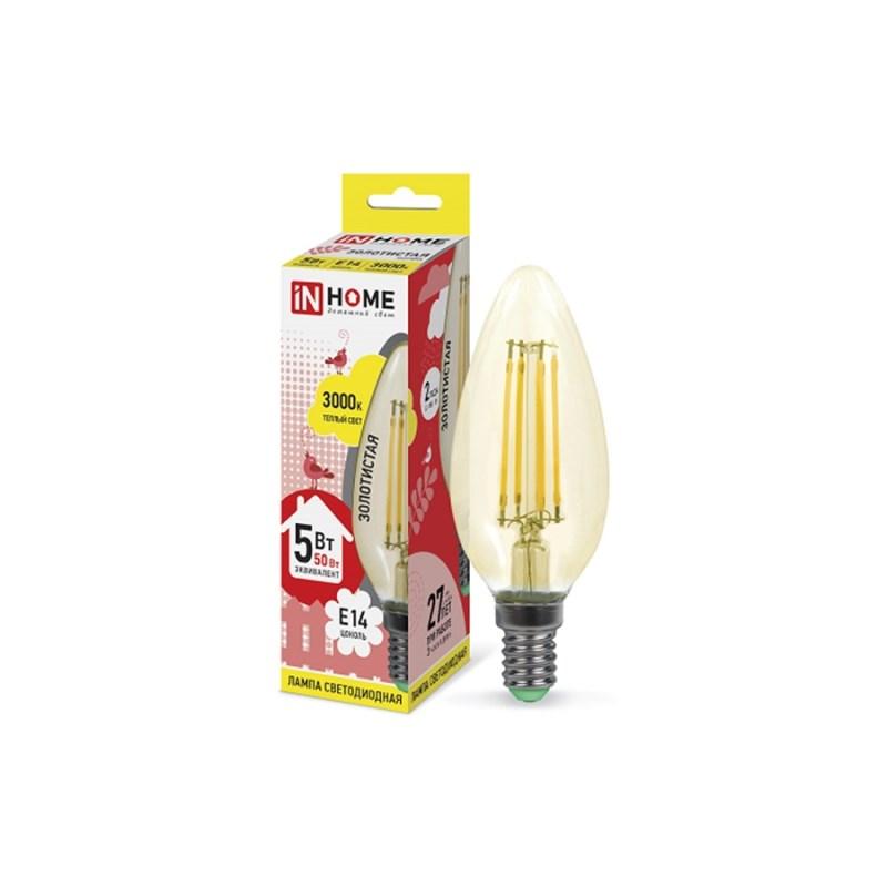 Лампа светодиодная LED-СВЕЧА-deco 5W 230В Е14 3000К 450Lm золотистая IN HOME