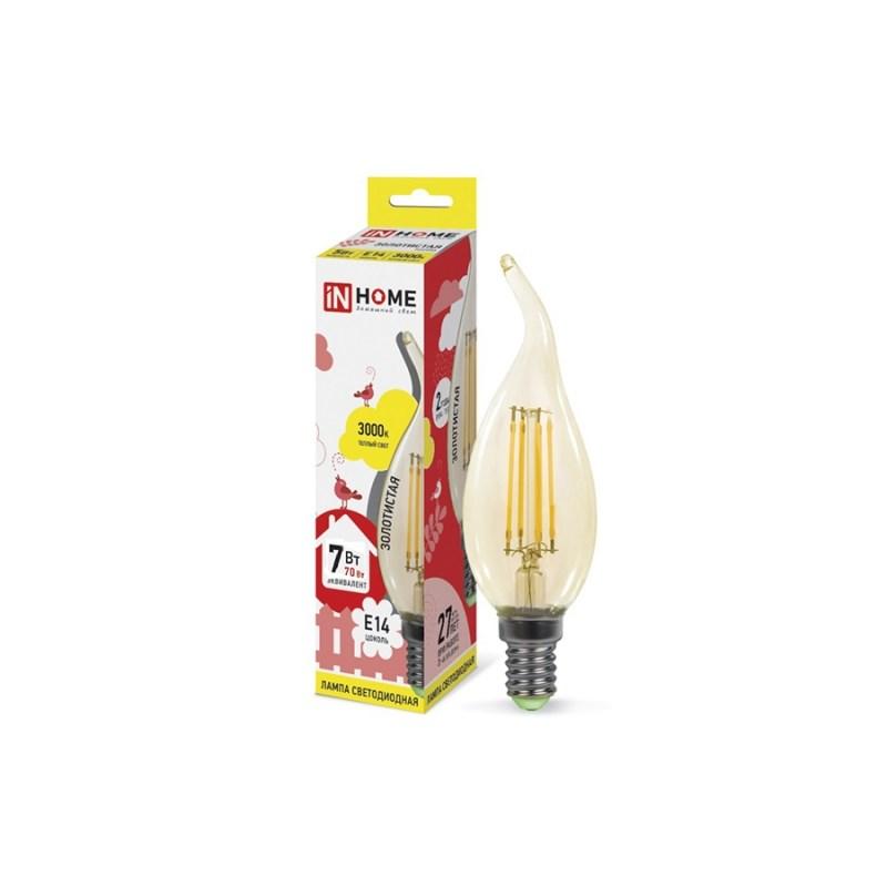 Лампа светодиодная LED-СВЕЧА НА ВЕТРУ-deco 7W 230В Е14 3000К 630 Lm золотистая IN HOME