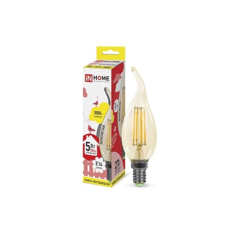 Лампа светодиодная LED-СВЕЧА НА ВЕТРУ-deco 5W 230В Е14 3000К 450Lm золотистая IN HOME